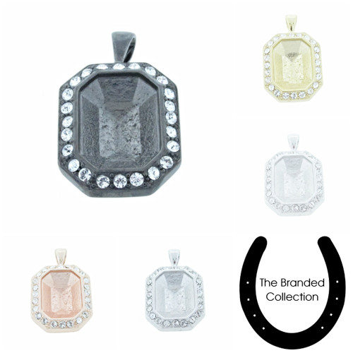 The Branded Collection - 18mm x 13mm Octagon Casted Single Pendant With Crystal Pave