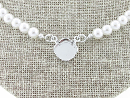 12mm Square Cushion Cut Single Pendant Empty Necklace With Faux Pearl Strands