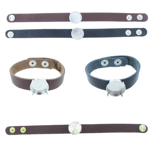 The Branded Leather Line - Classic Leather Bracelet With One 18mm Rivoli Round Riveted Empty Setting