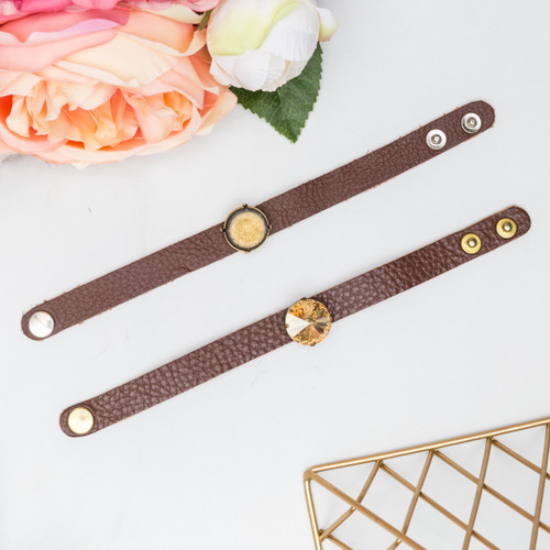 18mm | One Setting Classic Leather Bracelet | One Piece