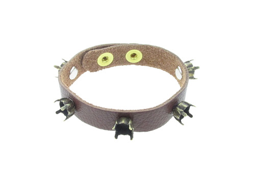 Shown with Brass Ox Settings On A Textured Chestnut Leather Bracelet With Brushed Gold Overlay Snap Closures