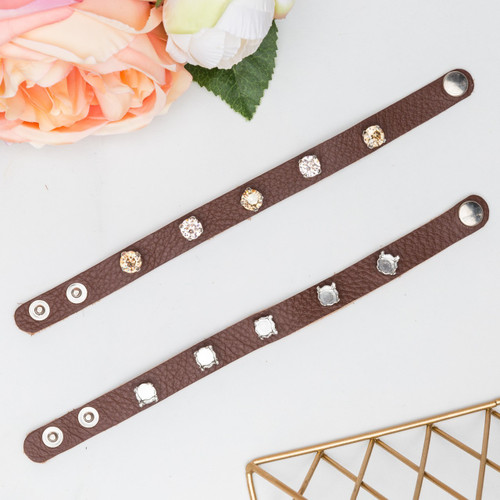 8.5mm   Five Setting Classic Leather Bracelet   One Piece