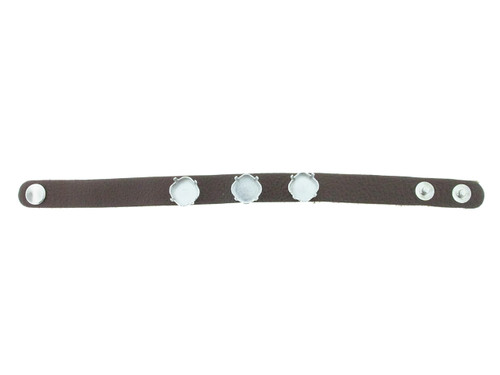 Shown With Rhodium Settings On A Textured Chestnut Leather Bracelet With Rhodium Snap Closures