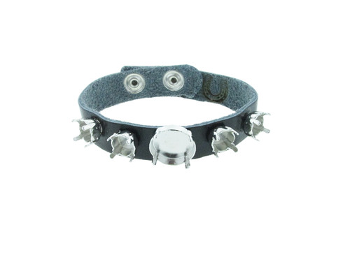 The Branded Leather Line - Classic Leather Bracelet With One 14mm Rivoli Round and Four 8.5mm (39ss) Riveted Empty Settings Made In The USA