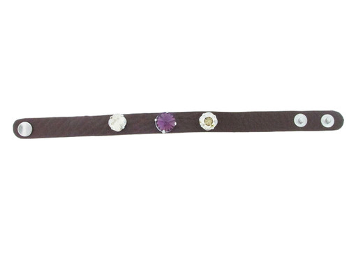 The Branded Leather Line - Classic Leather Bracelet With One 12mm Rivoli Round and Two 10mm Square Cushion Cut Riveted Empty Settings Made In The USA