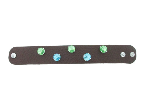 The Branded Leather Line - Wide Leather Bracelet With Five 12mm Rivoli Round Riveted Empty Settings Made In The USA