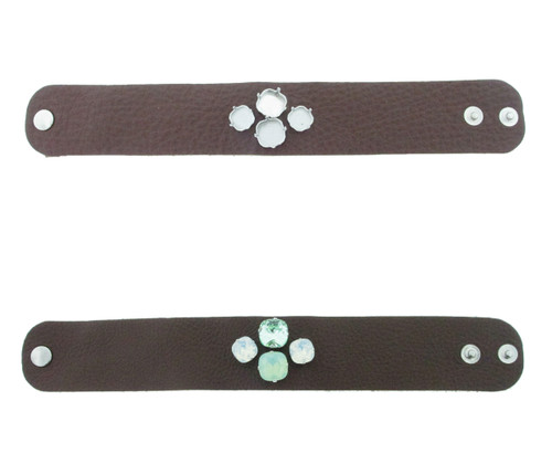 The Branded Leather Line - Wide Leather Bracelet With Two 12mm Square & Two 10mm Square Riveted Empty Settings