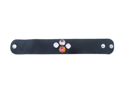 The Branded Leather Line - Wide Leather Bracelet With Two 12mm Square & Two 10mm Square Riveted Empty Settings Made In The USA
