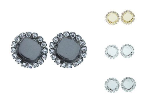 12mm Square Crystal Halo Stud Earring different finishes