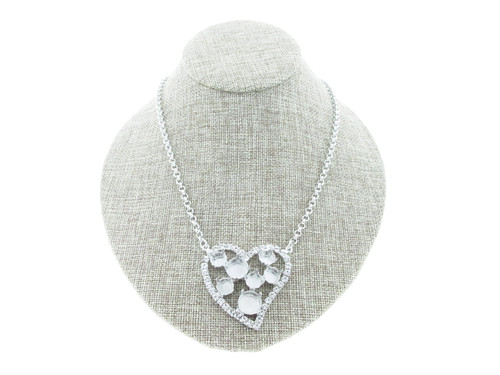 8.5mm (39ss) & 11mm Large Heart With Crystal Rhinestones Empty Necklace