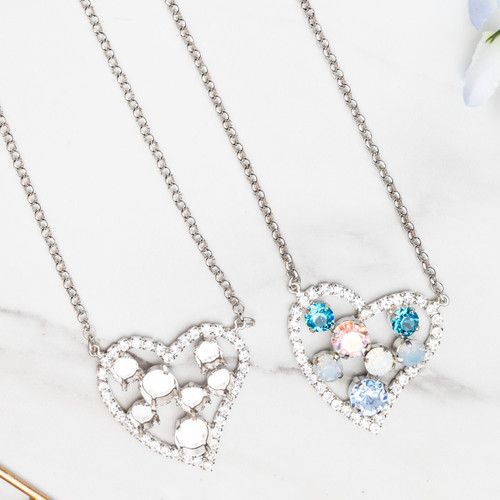 8.5mm & 11mm | Large Crystal Rhinestone Heart Necklace | One Piece