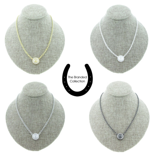 The Branded Collection - 8.5mm (39ss) Chaton Single Pendant Casted Necklace With Crystal Pave