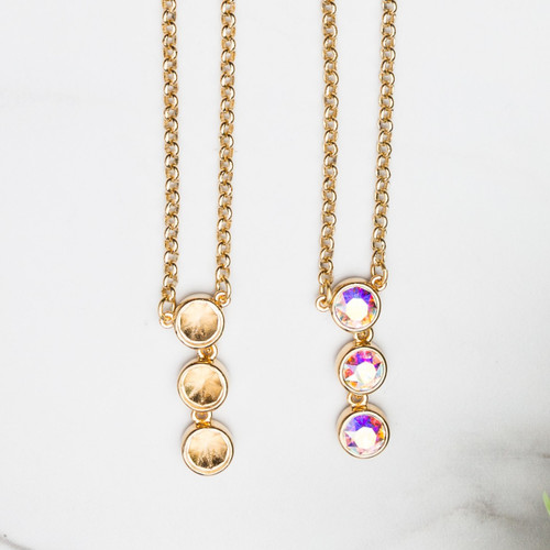 8.5mm | Three Setting Drop Casted Necklace | One Piece