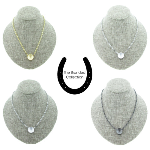 The Branded Collection - 14mm Rivoli Round Casted Single Pendant Necklace