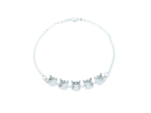 8.5mm (39ss) Five Box Empty Anklet Rhodium