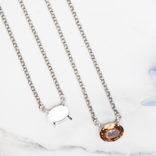 18mm x 13mm Oval | Sideways Pendant Necklace | One Piece