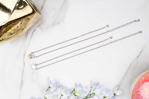 12mm Square   Crystal Halo Pendant Necklace   One Piece