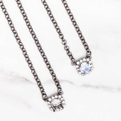 8.5mm   Crystal Halo Pendant Necklace   One Piece