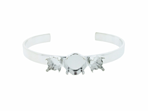 Cuff Bracelet with 8.5mm (39ss) & 12mm Square Empty Settings Rhodium