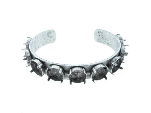 Cuff Bracelet with Nine 12mm Rivoli Round Empty Settings Silver Ox