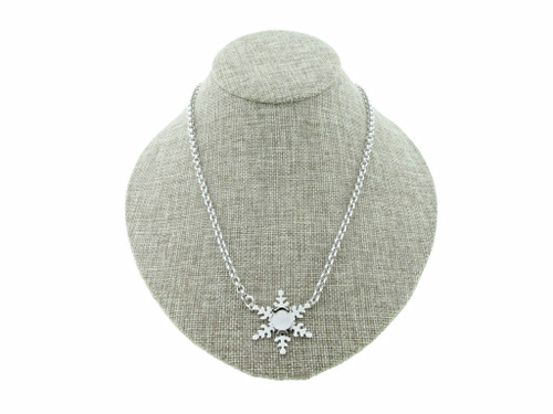 10mm Square Cushion Cut Single Snowflake Empty Necklace Small Smooth Rolo Chain
