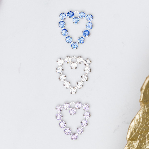 Heart Charms Made With Swarovski Crystals | 12 Pieces