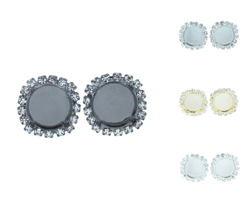 12mm Round Crystal Halo Stud Earring different finishes