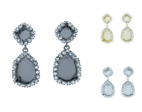 8.5mm & 18mm x 13mm Pear Crystal Halo Stud Earrings in the different finishes
