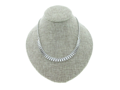 7mm x 3mm Baguette 36 Box Empty Necklace With Small Smooth Rolo Rhodium for swarovski