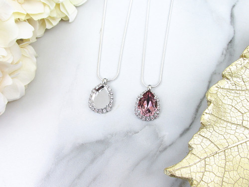 18mm x 13mm Pear | Crystal Halo Slider Pendant Necklace | One Piece