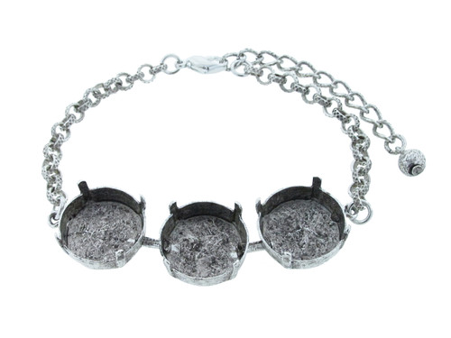 18mm Rivoli Round 3 Box Empty Bracelet in Silver Ox