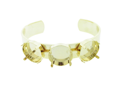 18mm Rivoli Round 3 Box Empty Cuff Bracelet in Gold Overlay