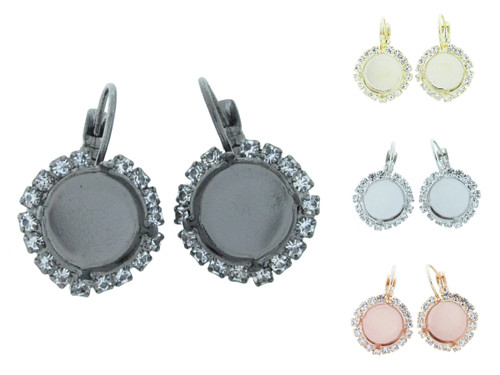 12mm Round Crystal Halo Drop Earring in the different finishes