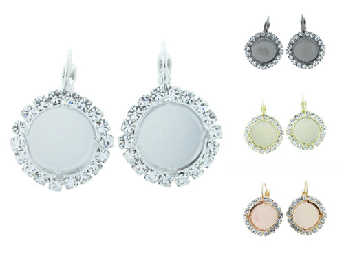 14mm Round Crystal Halo Drop Earring in the different finishes