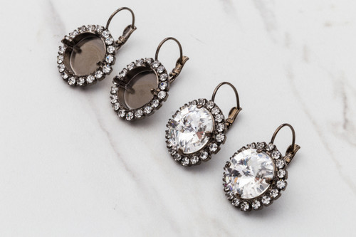14mm Round | Crystal Halo Drop Earrings | One Pair