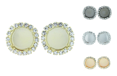 14mm Round Crystal Halo Stud Earring in the different finishes