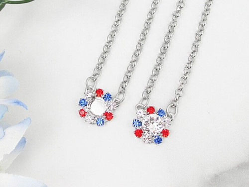8.5mm | Patriotic Crystal Halo Necklace | One Piece