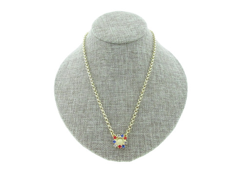 8.5mm (39ss) Single Pendant With Red, White, And Blue Rhinestone Crystals Empty Necklace Small Smooth Rolo Chain