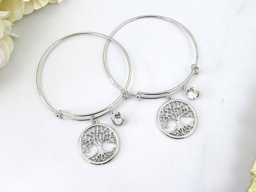 8.5mm | Large Tree Of Life Charm Bangle Bracelet | One Piece