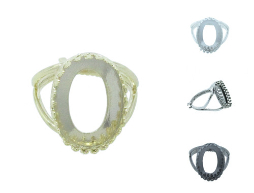 18mm x 13mm Oval Crown Open Back Adjustable Ring