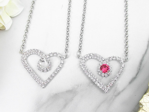 8.5mm | Large Crystal Rhinestone Heart Necklace | One Piece