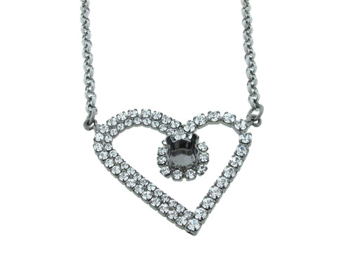 8.5mm (39ss) Large Heart With Crystal Rhinestones Empty Necklace
