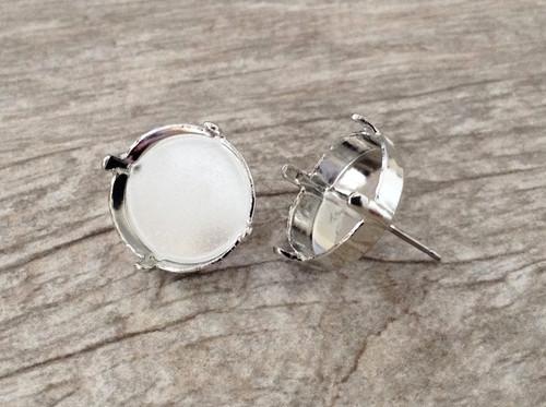 14mm Rivoli Round Empty Stud Earrings in rhodium
