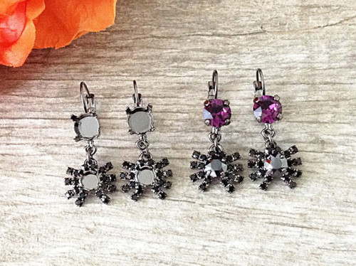 Spider Dangle Lever Back Earrings
