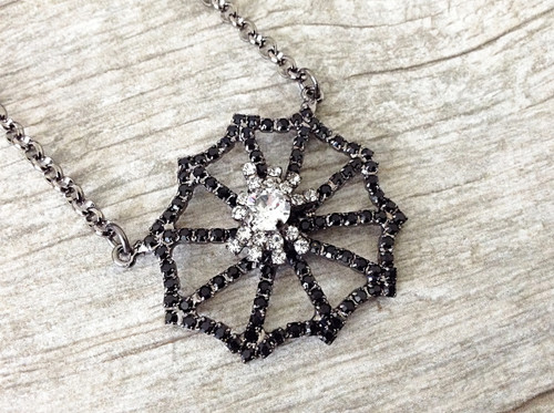 Spider On A Spiderweb Necklace, view 3