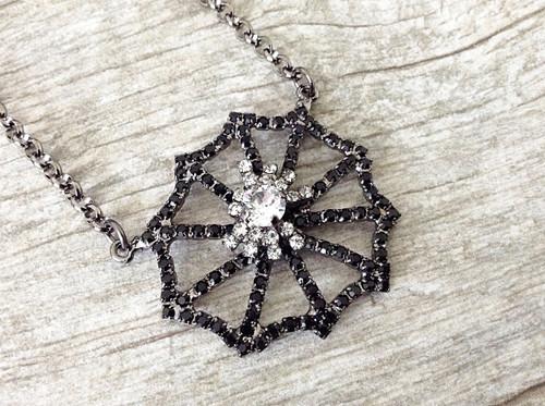 Spider On A Spiderweb Necklace, view 3
