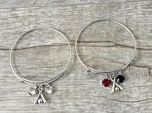 Baseball Charm With Two 8.5mm (39ss) Empty Settings On An Expandable Bracelet