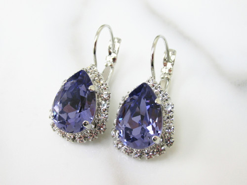 14x10mm Pear Lever Back Crystal Surround Empty Earrings view 2