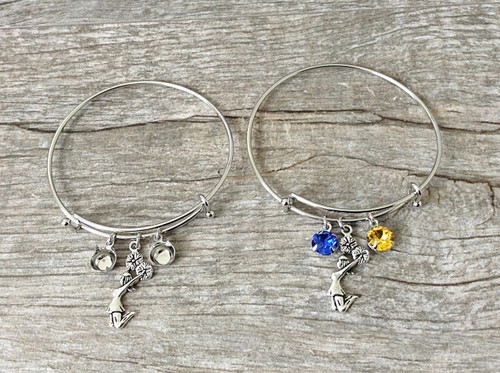 Cheerleader Charm With Two 8.5mm (39ss) Empty Settings On An Expandable Bracelet