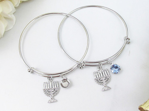 8.5mm | Menorah Charm Bangle Bracelet | One Piece